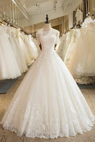 54a4846df0 Floor Length Puffy Wedding Dresses Off-the-shoulder Ball Gown Lace Ivory Bridal  Gown N1255 – Simibridaldress