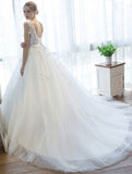 Ball Gown V Neck Tulle Court Train Appliques Lace Backless Cap Sleeve Bridal Dresses N1265
