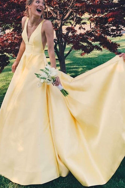 Elegant A Line Yellow V Neck Party Gown Senior Girls Prom Long Dresses with V Back N1345