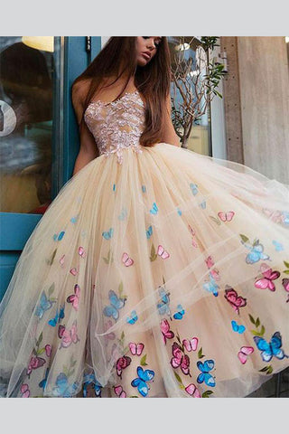 Champagne Strapless Ball Gown Ankle-Length Tulle Prom Dress for Teens
