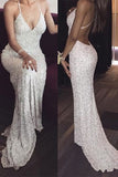 White Deep V neck Spaghetti Straps Sequin Mermaid Long Prom Dresses,Sexy Evening Dress,N405