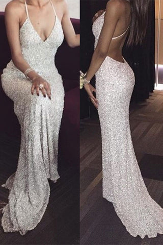 White V neck Spaghetti Straps Sequin Mermaid Prom Dress 767ccb7be