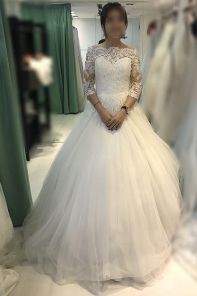 Ball Gown Ivory Off-the-shoulder 3/4 Sleeves Tulle Bridal Dress,Lace Beach Wedding Dress,N409