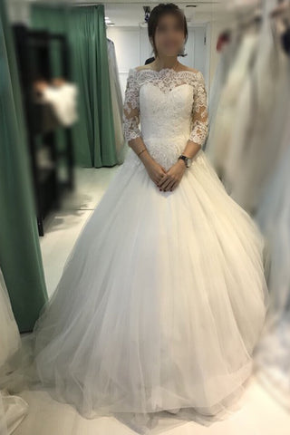Ball Gown Ivory Off The Shoulder 3 4 Sleeves Tulle Bridal Dress