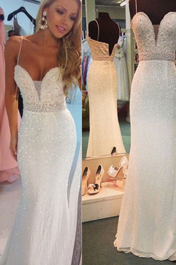 Sexy White Beaded Spaghetti Straps Mermaid Evening Party Dresses,Sparkly Prom Gown,N415