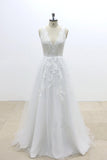 A Line V Neck Lace Appliqued Tulle Wedding Dress with V-Cut Back,Beach Wedding Dress N818