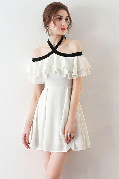 Chic Light Ivory Halter Ruffles Chiffon Short Homecoming Dresses,Short Prom Dresses,N406