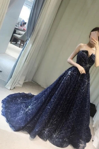 Unique V-neck Prom Dress,Elegant A-Line Prom Gown,Strapless Navy Blue Sparkly Long Prom Dresses,Long Evening Dress,Formal Dress,Sexy Prom Gowns N77