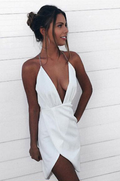 Sexy Asymmetrical Deep V-Neck Halter White Short Homecoming Dress,Mini White Dress,N351