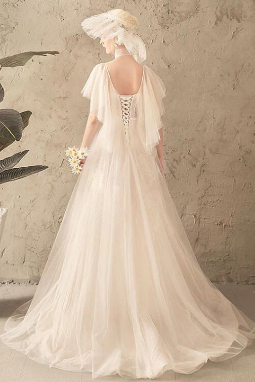 Unique Tulle Lace Long Wedding Dress, Ivory Short Sleeves Lace Up Back Bridal Dresses N2585
