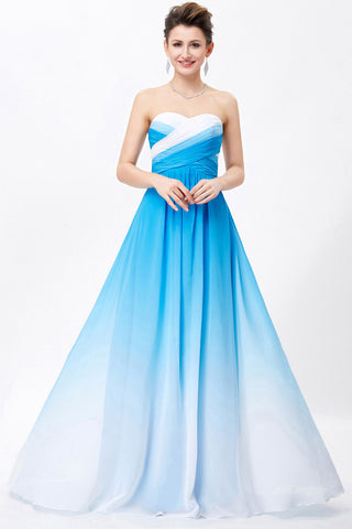 Blue Ombre A-line Sweetheart Pleats Floor Length Bridesmaid Dress,Prom Dress,N666