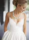 A-line V-neck Sleeveless Spaghetti Strap Lace Wedding Dress,Beach Wedding Gown,N462