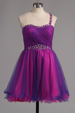 A-line One Shoulder Tulle Short Ruffles Homecoming Dresses with Beads