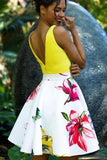 A Line Yellow V Neck Floral Print Homecoming Dresses, Cute Short Prom Dress N1122