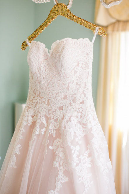 Light Pink Sweetheart Wedding Gown,Tulle Beach Wedding Dress,Lace Appliqued Bridal Dress, N129