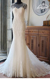 Ivory Long Sleeves Mermaid Lace Appliques Tulle Wedding Dress with Train,Beach Wedding Dress,N390