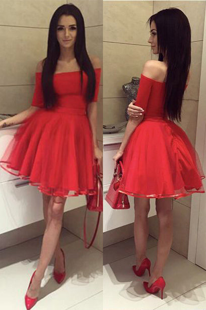 Red Half Sleeves Off-the-shoulder Tulle Ruched Homecoming Dress,Short Red Prom Dresses,N334