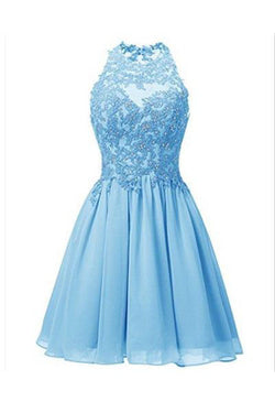 Sky Blue Jewel Sleeveless Chiffon Homecoming Dress with Beads,Applique Backless Prom Dress