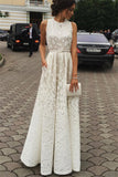 A-line Ivory Jewel Sleeveless Floor-length Lace Prom Dresses,Cheap Evening Dress,Formal Dress,N375