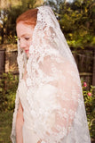 All Over Lace Unique Mantilla Church Bridal Veil, Gorgeous 3M Lace Wedding Veil V028
