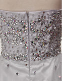 Cheap Silver A Line Jewel Sleeveless Organza Prom Dress with Sequins Crystals N861