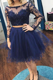 Fuchsia Two Piece Long Sleeves Tulle Homecoming Dress with Beading, Short Prom Dress N874