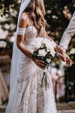 Mermaid Lace Sweetheart Elegant Bridal Long Wedding Dresses, Boho Bridal Dress N1403