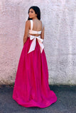 Fuchsia Two Piece Strap Prom Dress With White Top, Long Sexy Formal Dress with Bowknot N1170