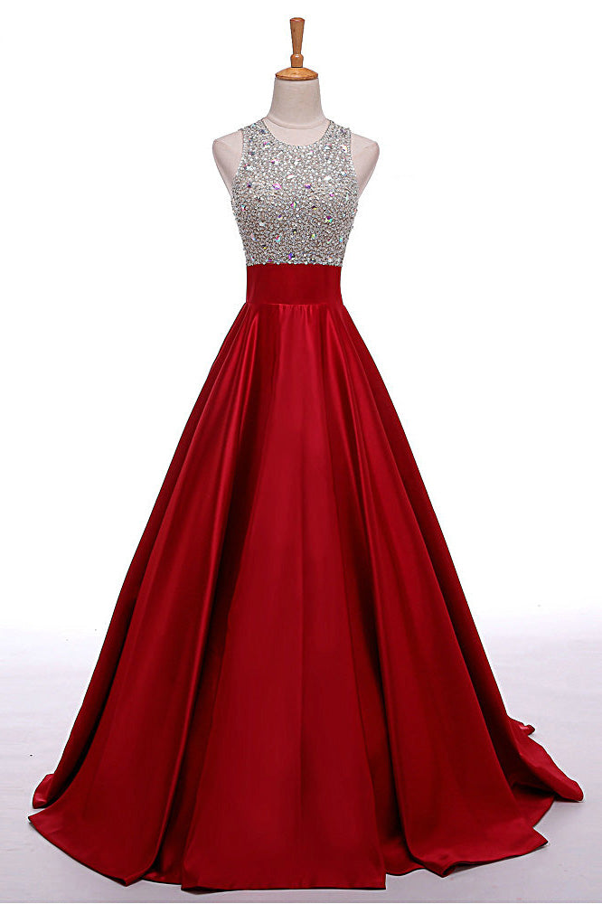 A-Line Round Neck Red Long Prom Dress with Beading,Sleeveless Evening Dresses,N270