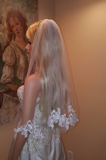 Elegant Simple Short White Illusion Tulle Veil with Raw Edges and Lace Appliques+Comb,V003