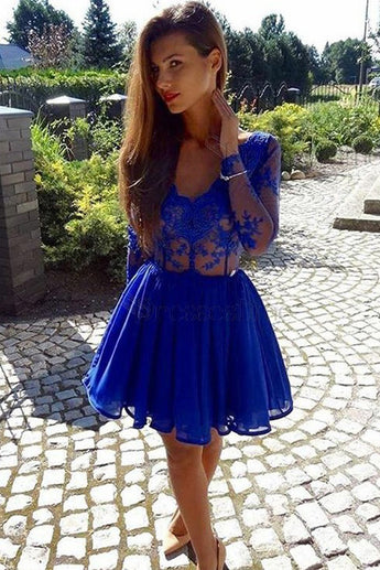 A-Line V-Neck Long Sleeves Royal Blue Chiffon Lace Homecoming Dress,Royal Blue Party Dress,N303