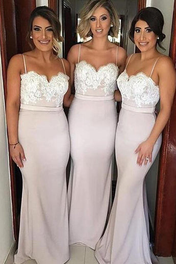 Spandex Mermaid Bridesmaid Dresses with Lace Top,Spaghetti Straps Bridesmaid Dress N57