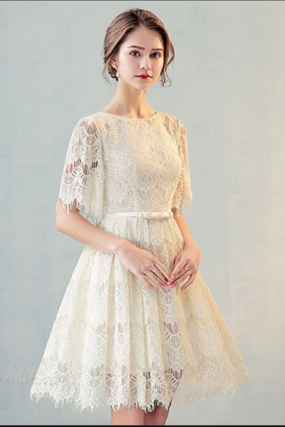 A Line Half Sleeves Lace Homecoming Dress, Cute Lace Sweet 16 Dress with Belt N1948