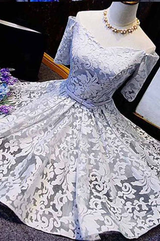 Fashion A-line Off-the-shoulder 1/2 Sleeve Lace Homecoming Dresses with Bowknot