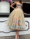 Sexy Strapless Ball Gown Tea-Length Tulle Prom Dress for Princess,Long Formal Dress,N427