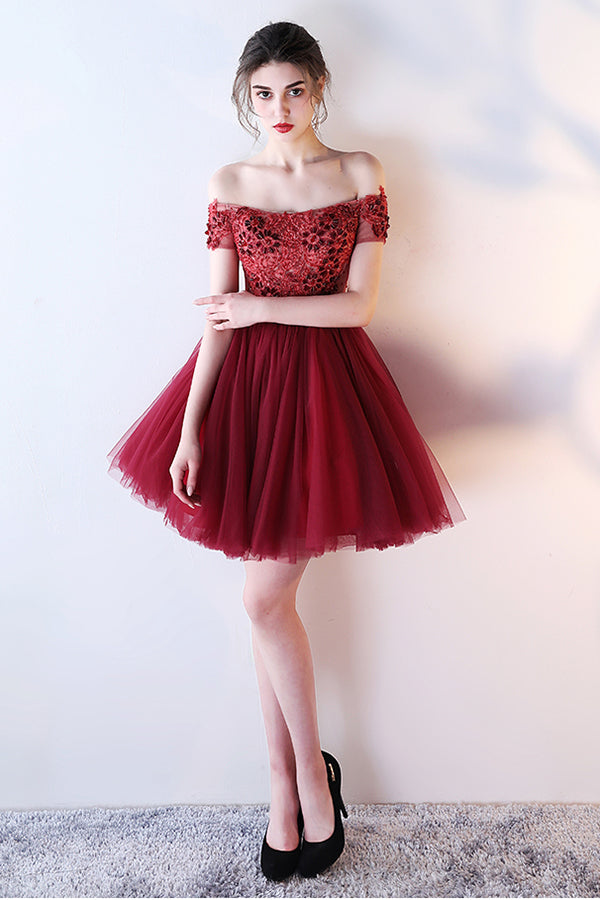 Dark Red Off the Shoulder Short Prom Dress with belt, Short Beading Homecoming Dress N777