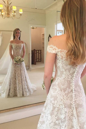 A Line Off the Shoulder Lace Wedding Dress, Long Beach Wedding Dresses N1516