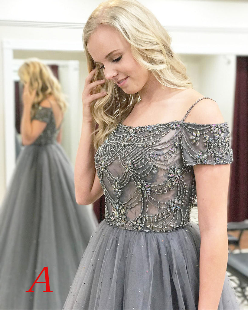 Gray Sparkly Off the Shoulder Short Sleeves Beading Tulle Long Prom Dresses,N640