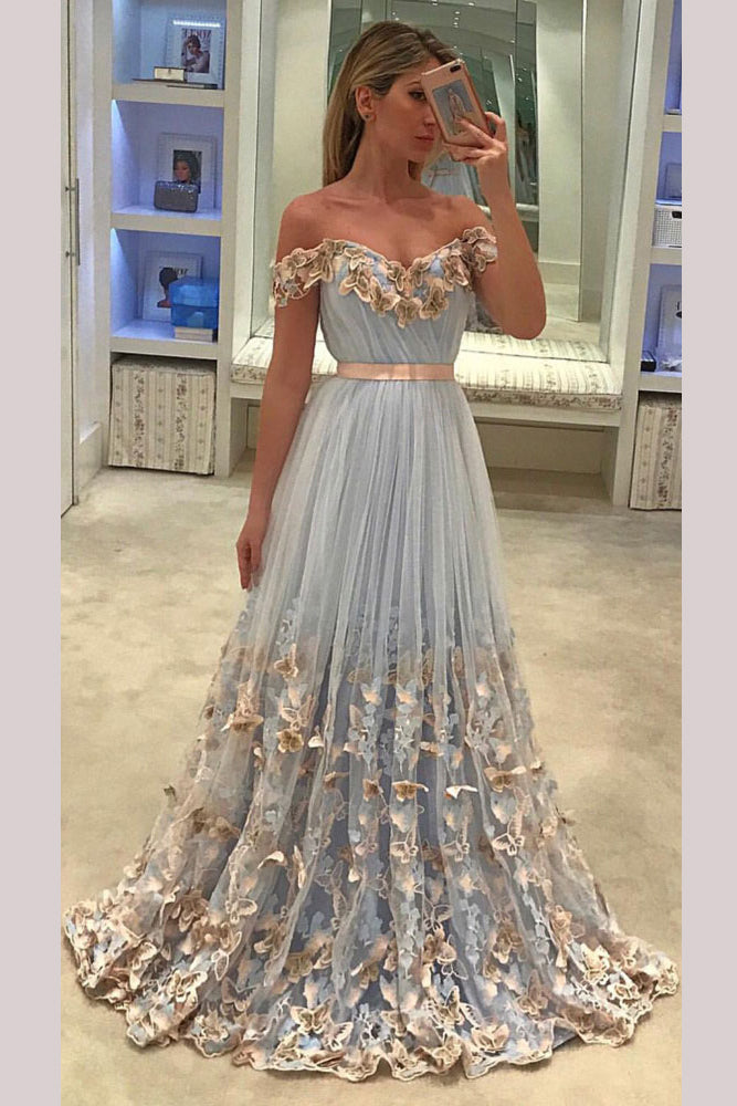 Light Blue A-line Off-the-shoulder Appliques Tulle Prom Dress  with Sash Flowers,N509