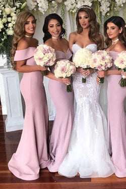 Simple Off-the-shoulder Sheath Sweep Train Split Front Bridesmaid Dresses N1426