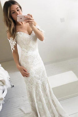 Affordable Off the Shoulder Mermaid Lace Long Wedding Dresses, Lace Prom Dress