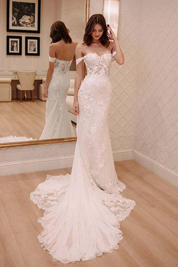Sexy Off Shoulder Appliqued Beach Wedding Dress with Court Train, Ivory Bridal Dress