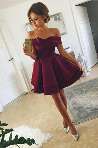 Short Satin Off-The-Shoulder Homecoming Dresses, A Line Mini Ruched Prom Dress