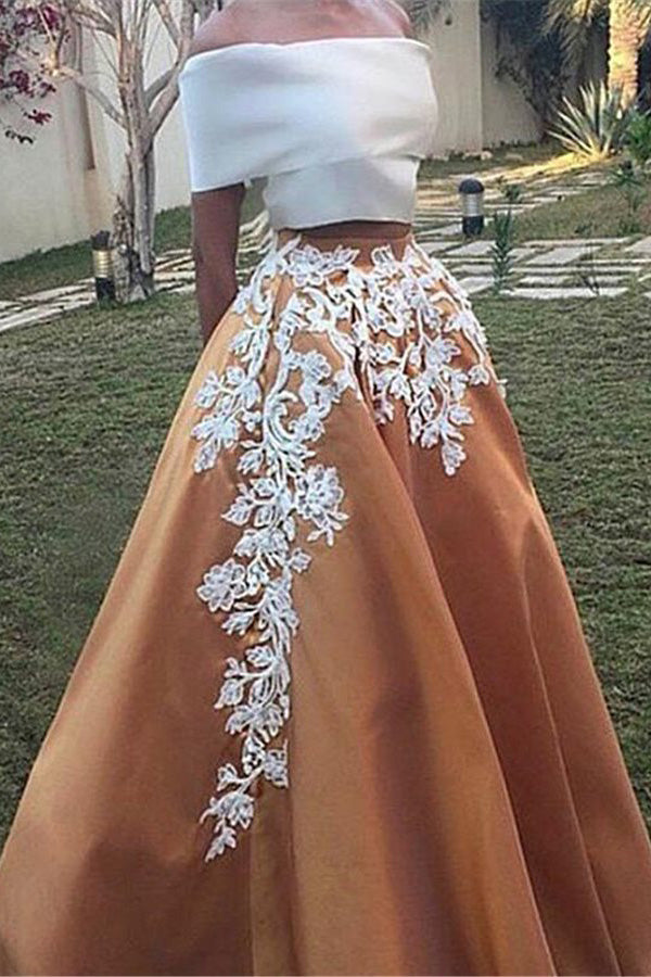 Two Piece Off the Shoulder Prom Dress, Vintage Appliqued Long Formal Dress