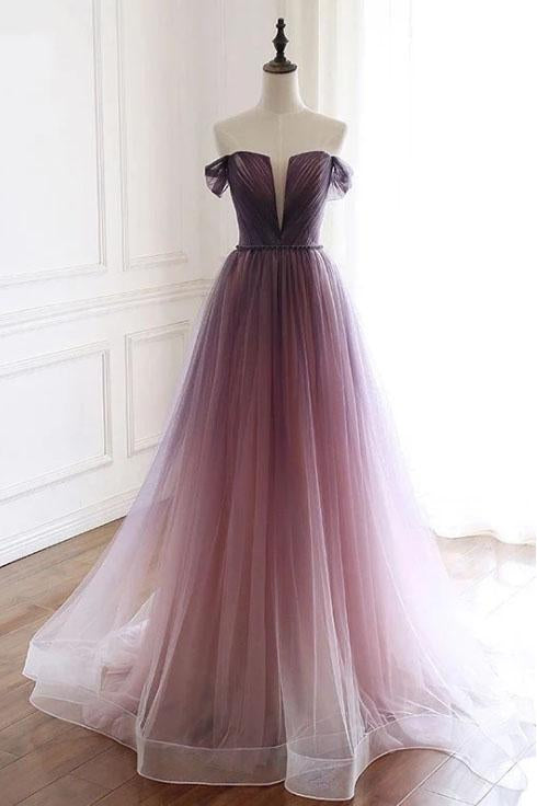 A Line Off the Shoulder Ombre Prom Dresses with Belt, Purple Gradient Long Tulle Formal Dress N2436