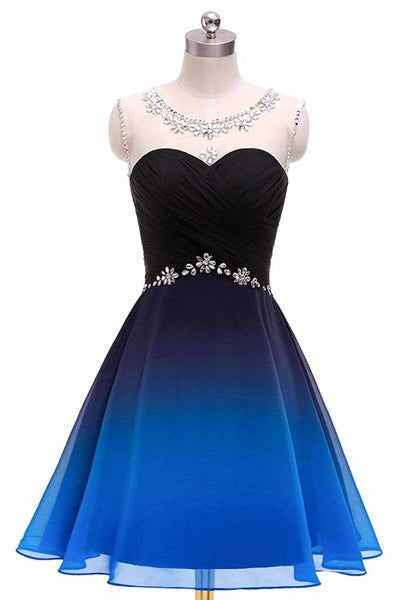 A Line Sleelveless Ombre Homecoming Dress, Gradient Formal Beaded Cocktail Dress N1675
