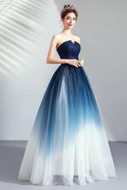 91144db328be Ombre Strapless A Line Long Prom Dress, Blue Ombre Graduation Dress with  Lace Up Back