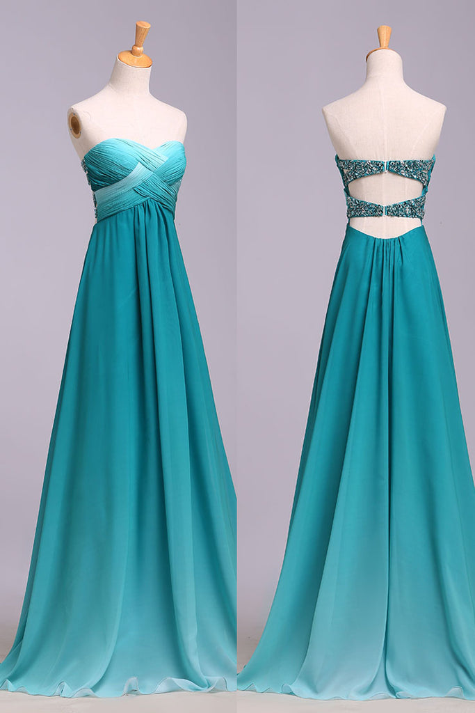 Ombre Sweetheart Long Chiffon Prom Dress with Sequins, Open Back Gradient Prom Gown N1206