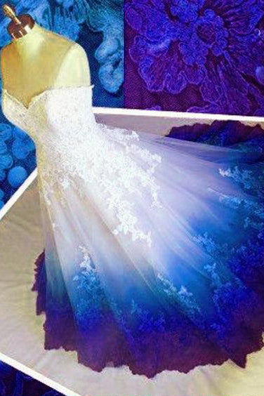 Ombre Prom Dress Sweetheart, Ball Gown Lace Applique Long Wedding Dresses N1800