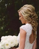A-line V-neck Cap Sleeves Open Back Lace Beach Wedding Dresses,Bridal Gown,N557